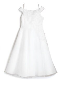 Us Angels - Girl's Satin Dress with Lace & Beads