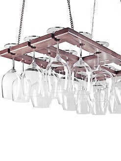 Wine Enthusiast - Hanging Oak Wine Glass Rack