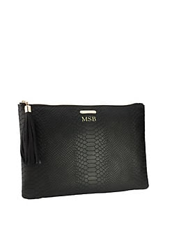 GiGi New York - Uber Python-Embossed Leather Clutch