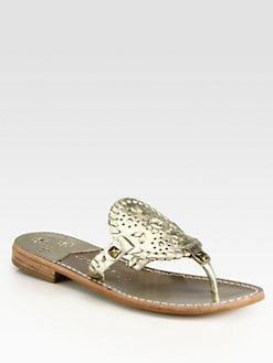 Jack Rogers - Georgica Studded Leather Thong Sandals