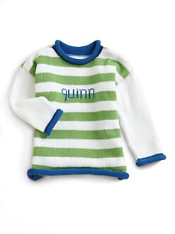 MJK Knits - Personalized Striped Sweater/Lime