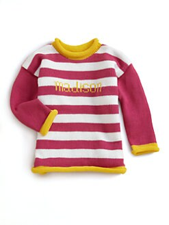 MJK Knits - Personalized Striped Sweater/Fuchsia
