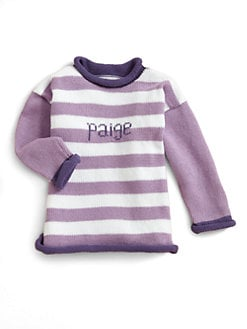 MJK Knits - Personalized Striped Sweater/Lavender