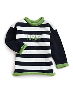 MJK Knits - Personalized Striped Sweater/Navy