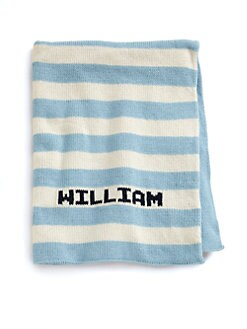 MJK Knits - Personalized Striped Baby Blanket/Blue