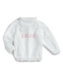 MJK Knits - Personalized Name Sweater/White & Light Pink