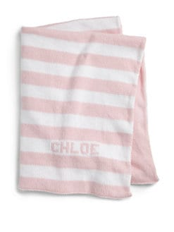 MJK Knits - Personalized Striped Baby Blanket/Light Pink