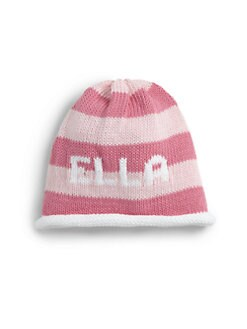 MJK Knits - Personalized Striped Baby Beanie/Pink