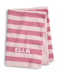 MJK Knits - Personalized Striped Baby Blanket/Pink