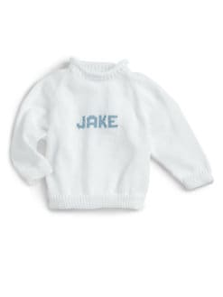 MJK Knits - Personalized Name Sweater/White & Blue