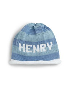 MJK Knits - Personalized Striped Baby Beanie/Blue