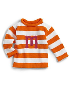 MJK Knits - Personalized Striped Letter Sweater/Orange