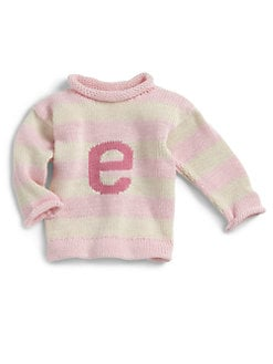 MJK Knits - Personalized Striped Letter Sweater/Pink