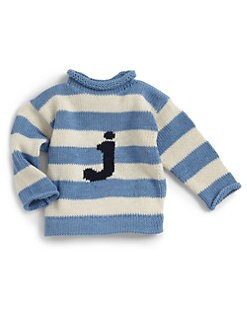 MJK Knits - Personalized Striped Letter Sweater/Blue