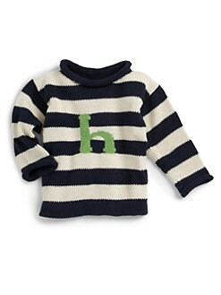 MJK Knits - Personalized Striped Letter Sweater/Navy