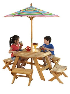 KidKraft - Octagon Table Set , 4 Stools & Striped Umbrella