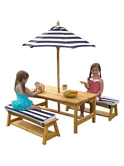 KidKraft - Outdoor Table & Bench Set, Cushions & Umbrella
