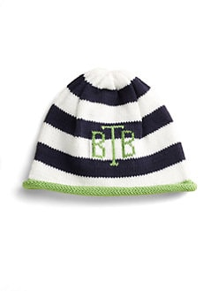 MJK Knits - Personalized Kid's Striped Hat/Lime