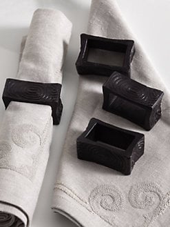 Natori - Wood-Grain Napkin Rings, Set of 4