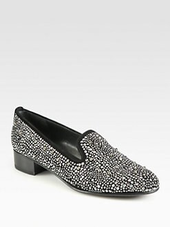 Stuart Weitzman - Slipbeads Beaded Suede Smoking Slippers