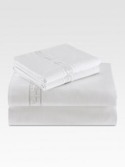 Natori - Ming Fretwork Flat Sheet/White