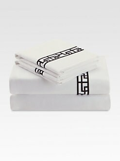Natori - Ming Fretwork Flat Sheet/Black & White