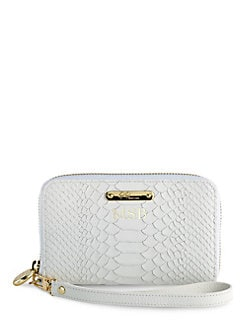 GiGi New York - Personalized Python-Embossed Leather Wristlet