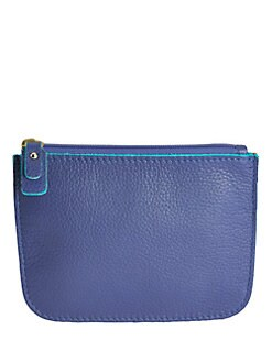 Graphic Image - Small Suede-Lined Leather Zip Case