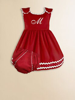 Princess Linens - Personalized Infant and Toddler Girl's Bon-Bon Dress/Red & White