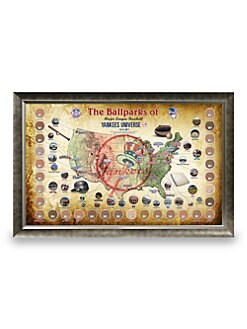 Steiner Sports - Framed Major League Baseball Parks Map Collage