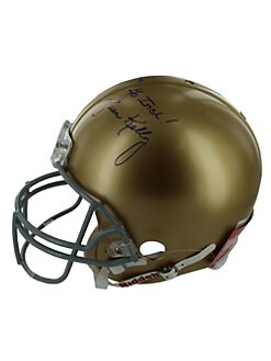 Steiner Sports - Brian Kelly Signed Notre Dame Full Size Authentic Helmet and Glass Display Case