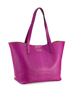 GiGi New York - Personalized Embossed-Leather Teddie Tote