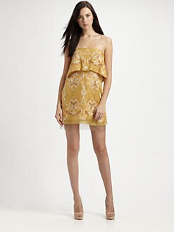 BCBGMAXAZRIA - Samantha Strapless Silk Dress