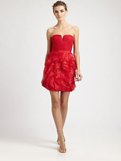 BCBGMAXAZRIA - Strapless Ruffle Dress