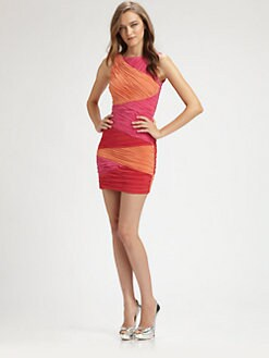 BCBGMAXAZRIA - Ruched Colorblock Dress