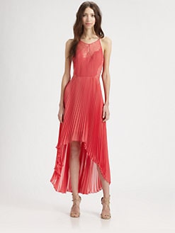 BCBGMAXAZRIA - Accordion Pleat Lace Dress