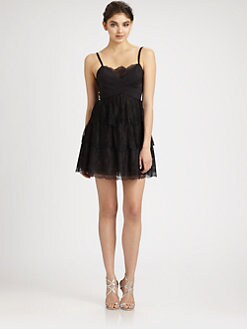 BCBGMAXAZRIA - Lace Inset Chiffon Dress