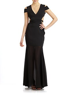 BCBGMAXAZRIA - Chiffon-Trimmed Cutout Gown