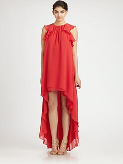 BCBGMAXAZRIA - Silk Chiffon Hi-Lo Gown