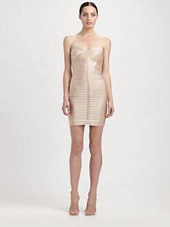 BCBGMAXAZRIA - Strapless Satin Band Dress