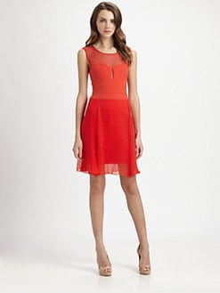 BCBGMAXAZRIA - Chiffon & Stretch Jersey Dress