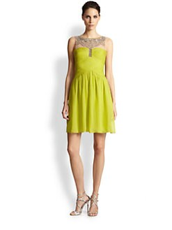 BCBGMAXAZRIA - Julissa Beaded-Top Pleated Silk Chiffon Dress