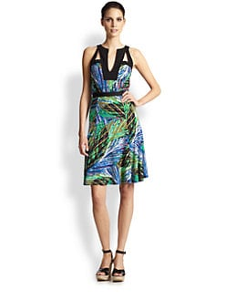 BCBGMAXAZRIA - Lindy Cutout Printed Dress