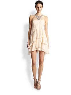 BCBGMAXAZRIA - Joyce Asymmetrical Tiered Silk Chiffon Dress