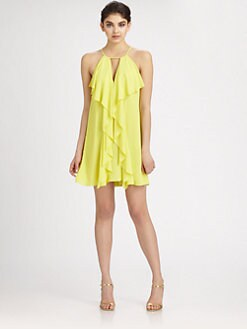 BCBGMAXAZRIA - Silk Chiffon Halter Dress