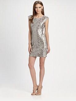 BCBGMAXAZRIA - Vallissa Geometric Sequin Dress