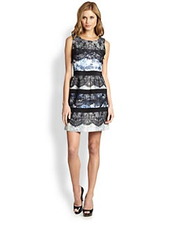 BCBGMAXAZRIA - Makenna Lace-Trimmed Printed Dress