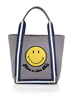 Anya Hindmarch - Leather-Trimmed Canvas Smiley Face Tote