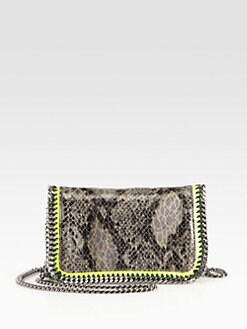 Stella McCartney - Falabella Python-Print Crossbody Chain Clutch