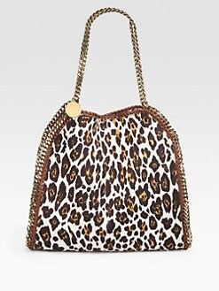Stella McCartney - Falabella Leopard-Print Linen Shoulder Bag